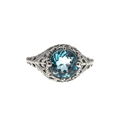 Blue Bayou - Estate Sterling Silver Blue Topaz Filigree Ring
