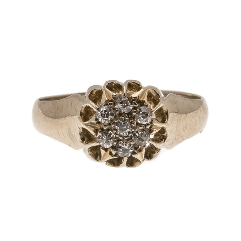 Dazzling Buttercup - Edwardian 18K Gold Diamond Cluster Ring (EDR047)