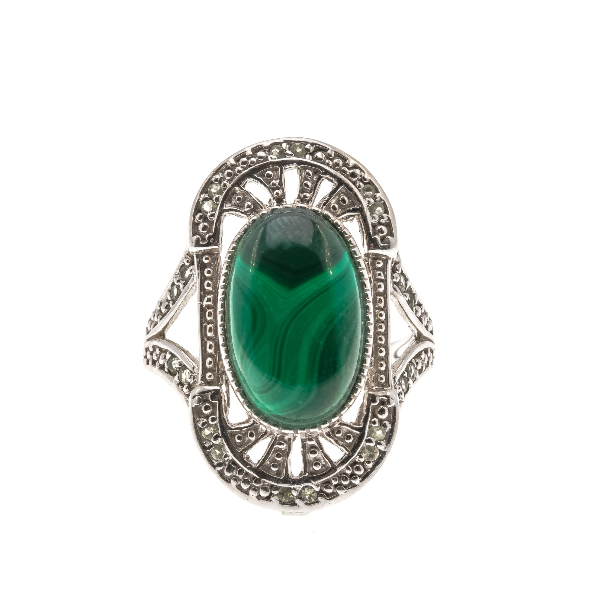 Shades Of Green - Vintage Sterling Silver Malachite & Prasiolite Ring