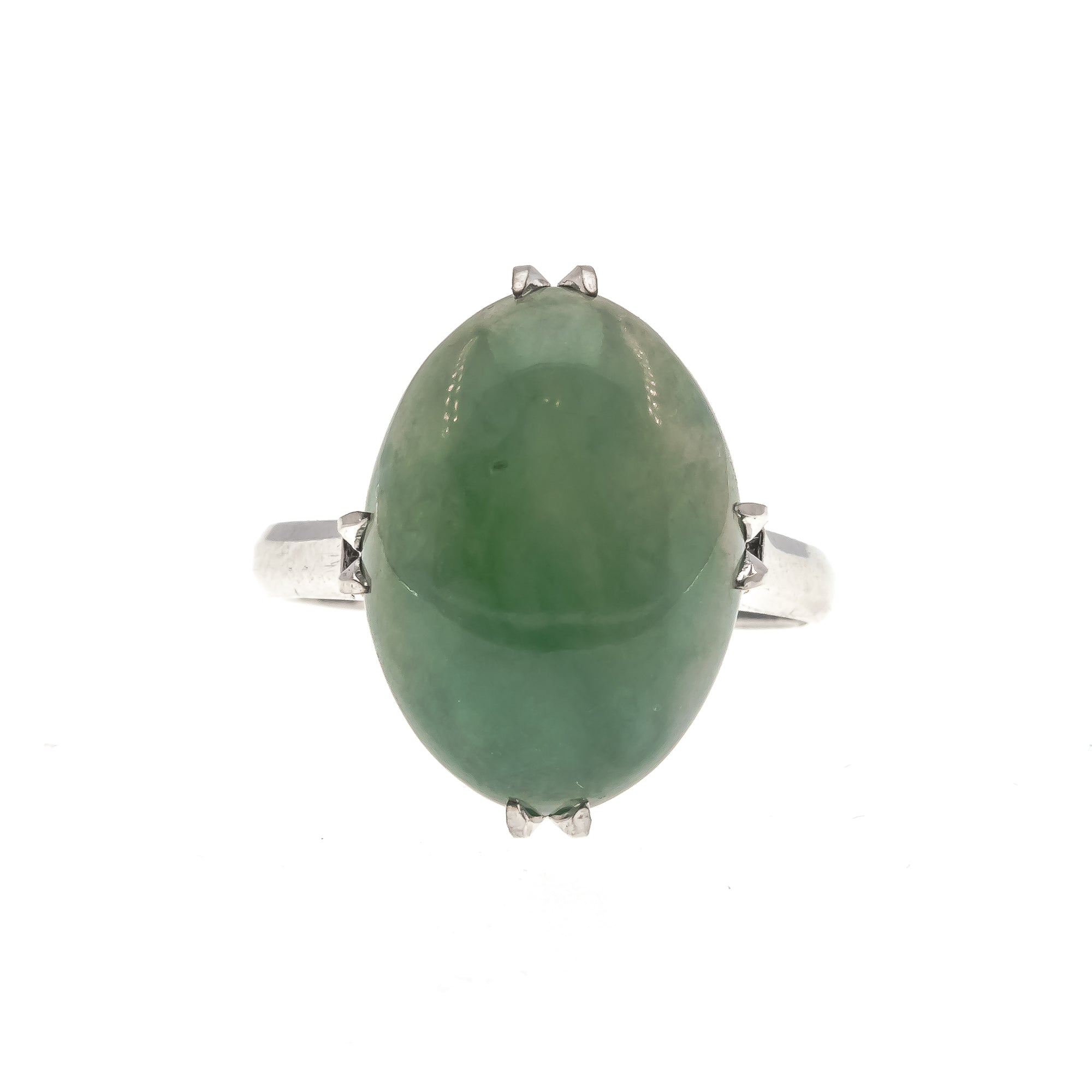 Pounamu In Retro - Art Deco Retro 14K Jade Ring (ADR164)