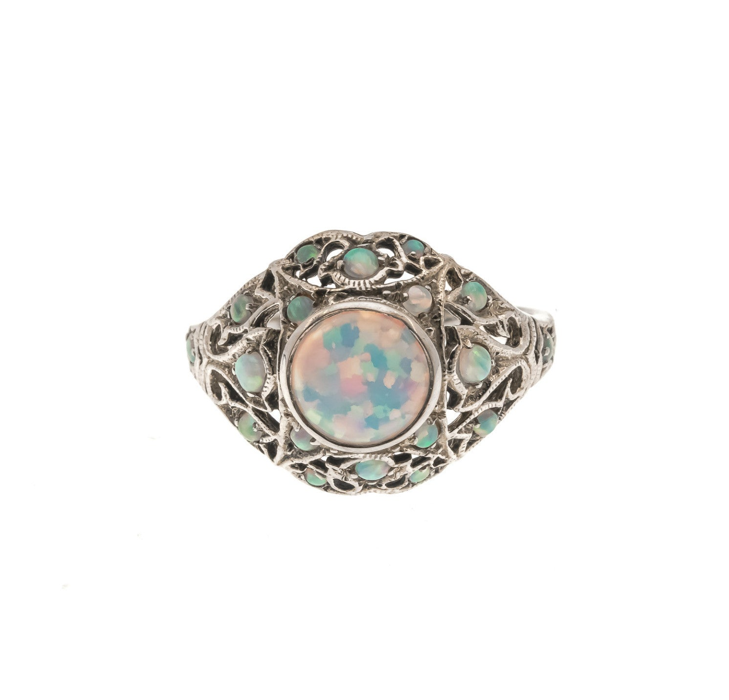 Kaleidoscope Of Colour - Estate Sterling Silver Opal Ring (ER112)