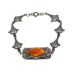 Fire & Earth - Art Deco Sterling Silver Carnelian Marcasite Bracelet