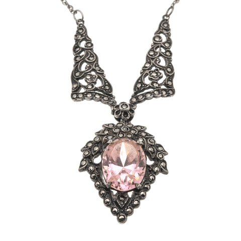 Art Deco Sterling Silver Pink Sapphire Paste & Marcasite Necklace (ADN025)