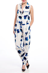 J JS LEE White Floral Jumpsuit