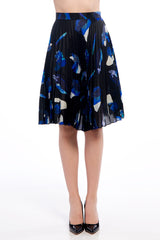 J JS LEE Navy Floral Pleated Skirt