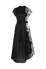 AMANDA WAKELEY Black Sheer Cloque Jacquard Dress