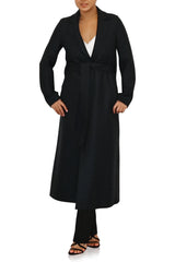 Womens Long Belted S.B Coat Pressed Wool & Polaire