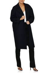 Womens Dropped  Shoulder D.B Coat Pressed Wool- Navy