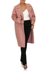 Womens Dropped Shoulder D.B Coat Pressed Wool - Old Rose