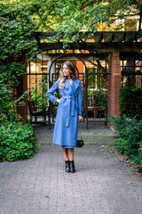 Womens Long Trench Coat Pressed Wool- Powder Blue