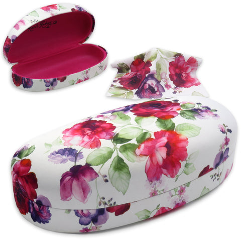 Hard Floral Sunglasses cases w/ Pouch and Cloth (AS113 Cranberry Rose)