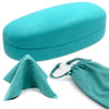 Women Medium Hard Sunglasses Case w/ Pouch & Cloth (AS113 Turquoise)