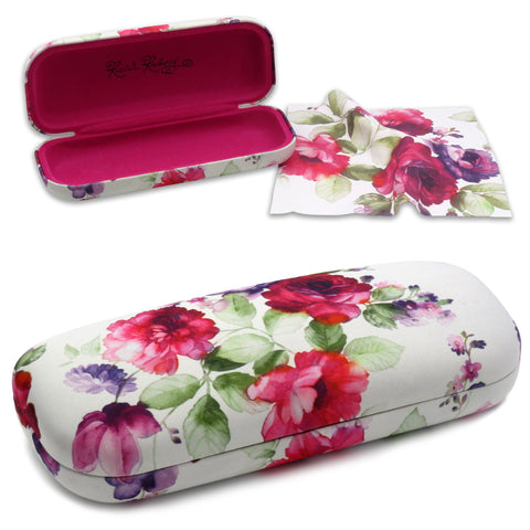 Floral White Hard Eyeglasses Case with Cleaning Cloth  (AS126 Cranberry Rose)