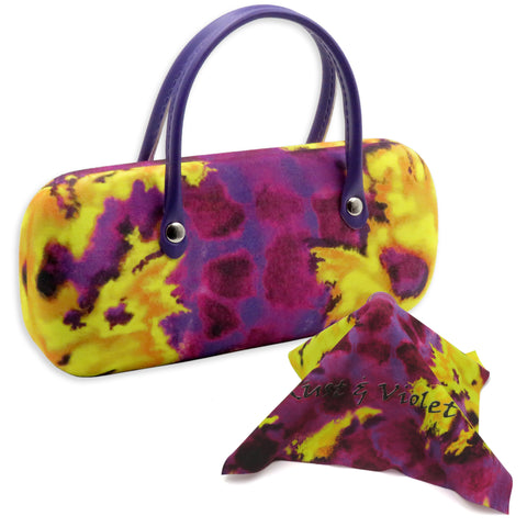 Eyeglass Case w/ Handle in a Tie Dye Print, Mini Accessories Case (AS12TG Purple/Yellow)