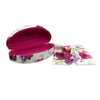 Large Women Hard Sunglasses case w/ Cleaning Cloth (AS179 Cranberry Rose)