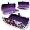 Purple Floral Hard Eyeglass Case with Kiss Lock Magnet Closure, A mini Accessories Case w/cloth (AS461 Poppy)