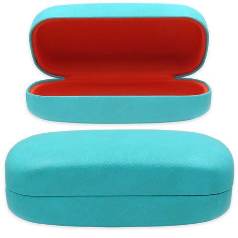 Extra Large Turquoise Sunglasses Case / Orange Interior, Pouch+Cloth  (AS505)