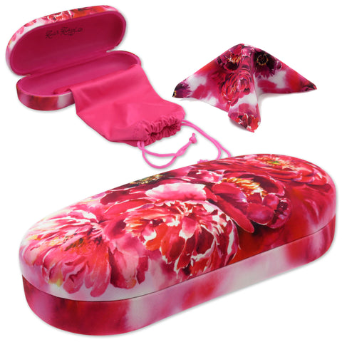 Rachel Rowberry large eyeglasses case Pouch & Cloth (AS87 Peonies)