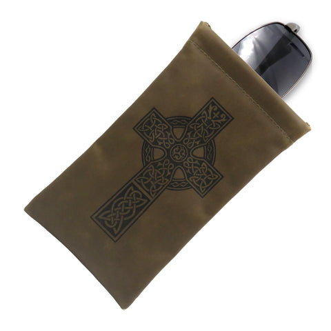 Soft Large Sunglasses case, Eyeglass Pouch Cross Design (CT8 Olive)