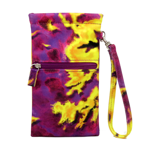 Tie Dye Soft Pouch with Lanyard Wristlet, Soft Sunglasses Case, Eyeglass Pouch, Phone Case (TD Purple)
