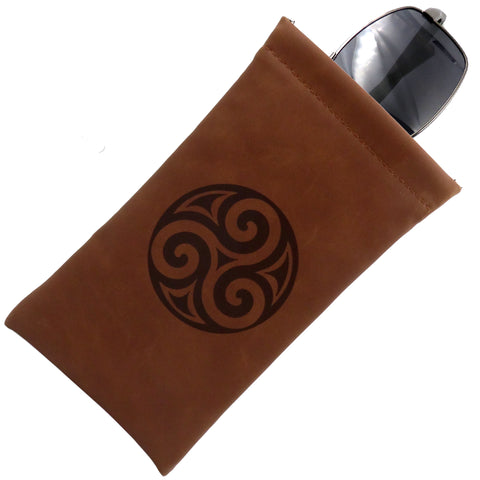 Soft Sunglasses case, Eyeglass Pouch w/ Cloth,  (Brown Triskelion)