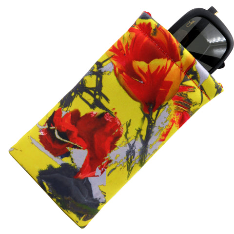 Yellow Tulip Soft Sunglasses case, Eyeglass Pouch w/ Cloth,  (CT8 Yellow Tulip)