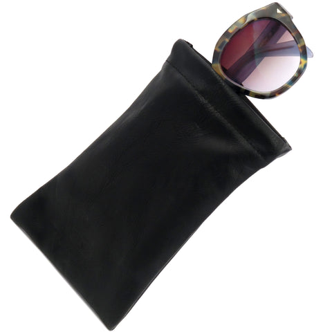 Black Distressed Large Sunglasses Pouch, Soft Eyeglasses Case w/ Cloth,  (CT8 Black)
