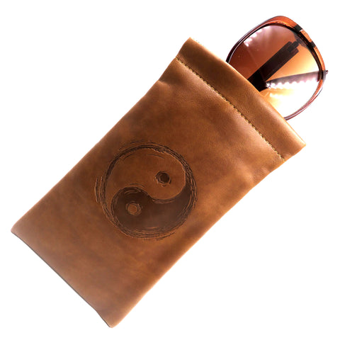 Large Soft Sunglasses Pouch, Eyeglass Case w/ Cleaning Cloth, (Yin Yang Brown)