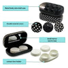Hard Contact Lenses Case with Stylish Holder & Mirror | PACK OF 3 Black Pattern Mixed