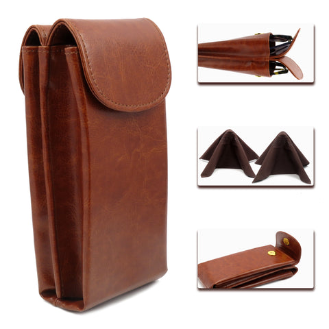 Extra Large Double Sunglasses case / Double eyeglass case ( IP822 Brown)