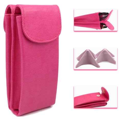 Extra Large Double Sunglasses case / Double Eyeglass case w/ 2 Cloth ( IP822 Pink)