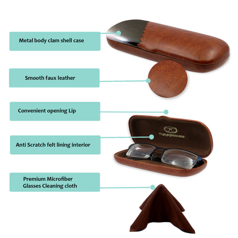 abd31e10ce5 Small Hard Eyeglass Case & Reading Glasses Case w/ Cloth ( S5 Brown).  Images / 1 / 2 / 3 ...
