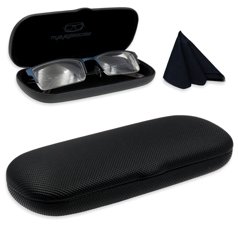Small Hard Eyeglass Case & Reading Glasses Case w/ Cloth ( S5 Rough Black)