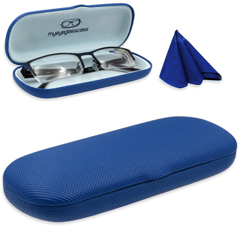 Small Hard Eyeglass Case & Reading Glasses Case w/ Cloth ( S5 Rough Blue)