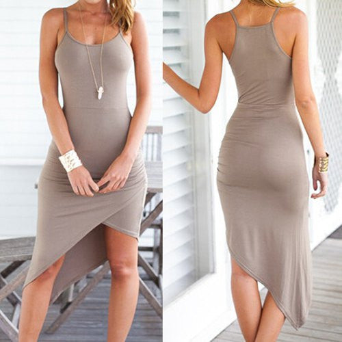 Spaghetti Strap Asymmetrical Solid Color Dress
