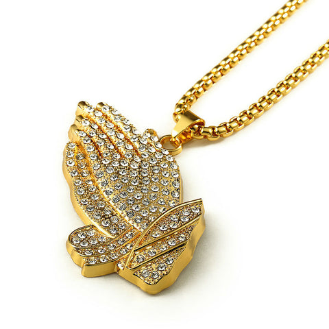 18K Gold Praying Hands Diamond Pendant