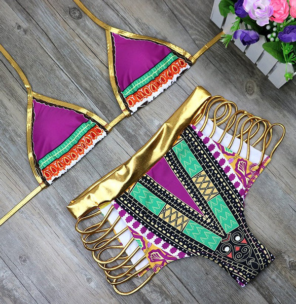 Ethnic Print Two Piece Bikini Set