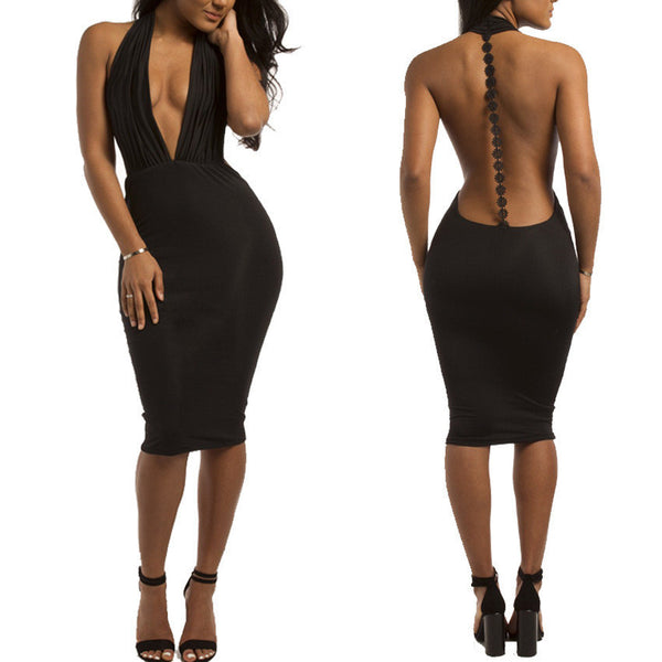 Backless Hangling Sexy Halter Bandage Dress - Superior Apparel
