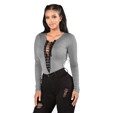 Lace Up Front V-Neck Shirt [ 3 Colors ]