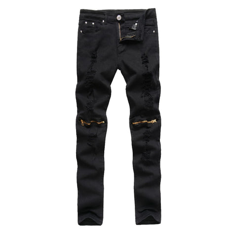 urban semi distressed zip denim