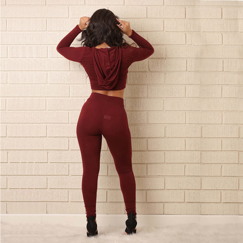 SEXY TWO PIECE HOODED TRACKSUIT (Availabe 2 colors)