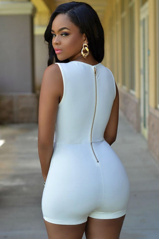 Gold Button Romper Styled Bodysuit