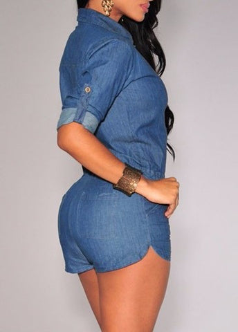 Denim long Sleeve Bodycon Romper - Superior Apparel
