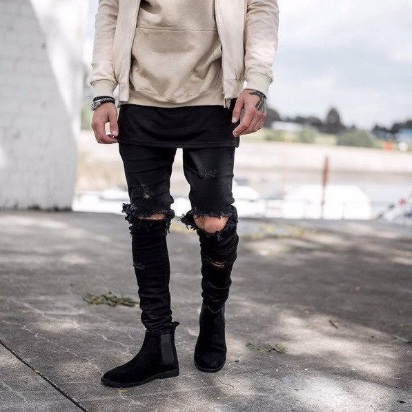 Destroyed Ripped Skinny Jeans