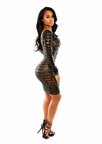 Long Sleeve Mesh Top Bodycon Party Dress - Superior Apparel