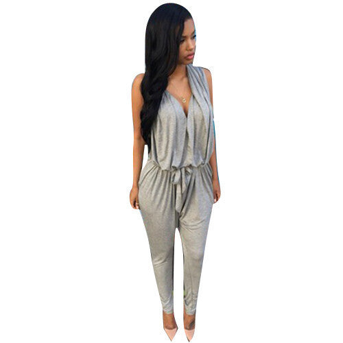 Polyester Sashes Regular Casual Fashion Deep V-Neck Jump Suit