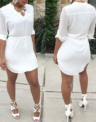 White Drawstring Waist Casual V-Neck Half Sleeve Dress