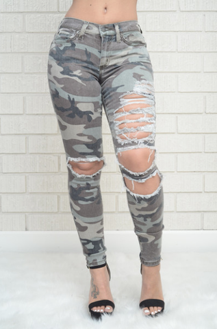 Spring Camouflage Ripped Jeans