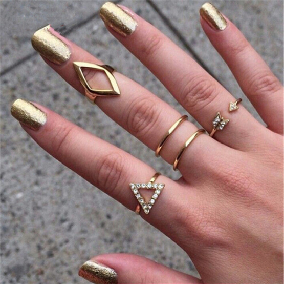 5pc Geometric Ring Set - Superior Apparel