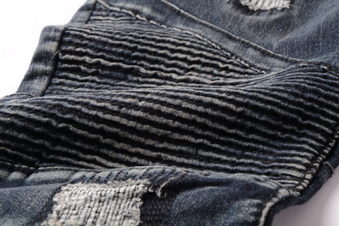 ZIPPER STLYE DISTRESSED BIKER DENIM